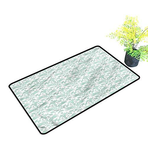 - Door mats Outside uniqueAqua,Wave Like Round Swirls for Indoor Outdoor,H17xW29 inch