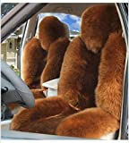 IMQOQ A Pair Genuine Sheepskin Fur Car 2 Front Seat Covers Set Winter Warm Universal Light Coffee