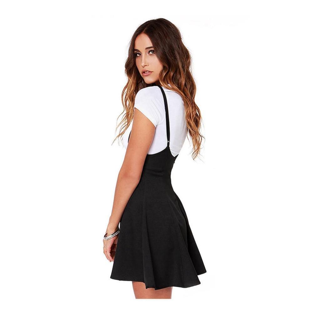 Yesmile 💋💝Vestido de Mujer Falda Negro Vestido Elegante de Noche para Boda Fiesta Vacaciones Falda Negra con Tirantes de Hombro Vestido Plisado Ropa ...