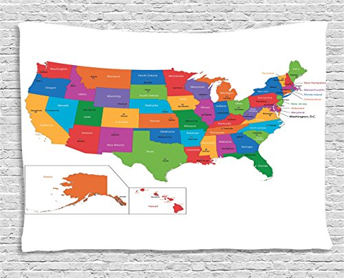 Ambesonne Wanderlust Tapestry, Colorful USA Map with States and Capital Cities Washington Florida Indiana Print, Wall Hanging for Bedroom Living Room Dorm, 60 W X 40 L Inches, Multicolor