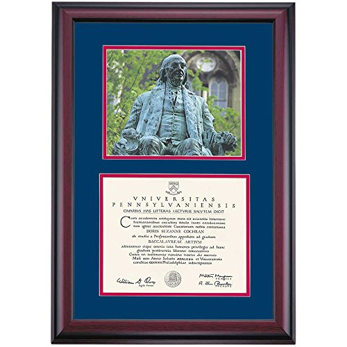 Pennsylvania UPenn Quakers Diploma Frame Blue Red Matting Photograph by Campus Linens