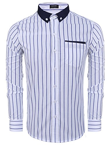 Coofandy Casual Pinpoint Contrast Striped