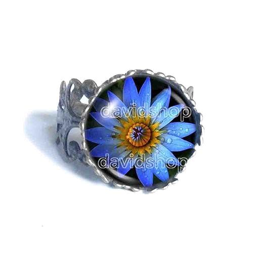 Amazon blue lotus flower ring symbol poster photo pendant blue lotus flower ring symbol poster photo pendant fashion jewelry yoga charms woman mightylinksfo