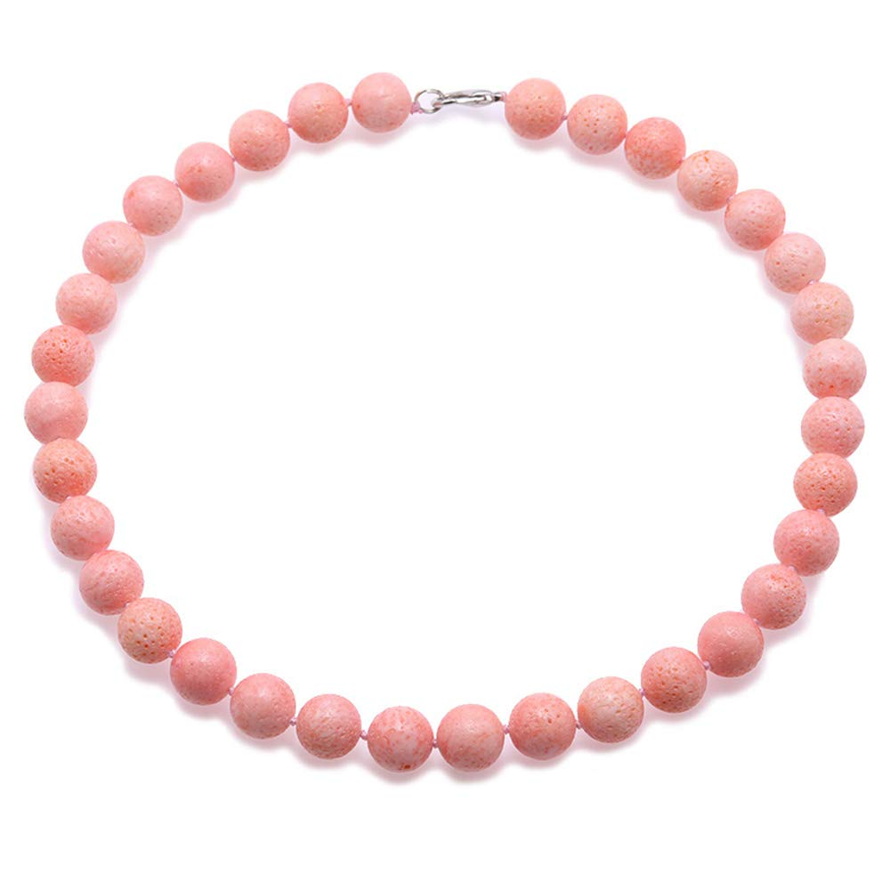 JYX Coral Jewelry for Women 14mm Pink Round Coral Beads Single Strand Gemstone Necklace For Women 18''