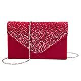 Kaever Evening Clutch, Womens Satin Rhinestone Envelope Clutch Purse for Wedding and Party (Red)