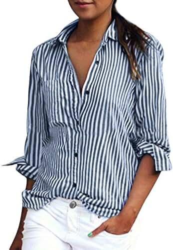 ZANZEA Women Vertical Stripe Lapel Casual Long Sleeve Button Pocket Blouse Shirts