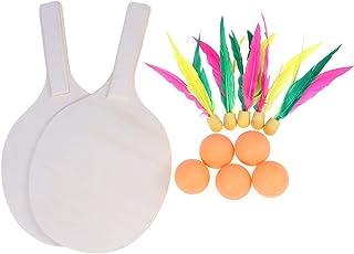 LIOOBO Plage Paddle Ball Jeu Badminton Tennis Pingpong Plage Cricket Raquette en Bois Paddles Set Jeu De Raquette en Plein Air pour Adultes Enfants