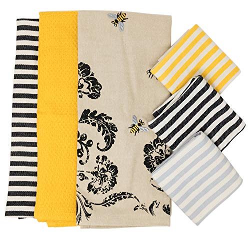 (DII Set of 3 Busy Bee Kitchen Dishtowels Bundle with Set of 3 Petite Stripe Dishcloths)