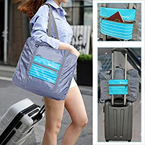 DOKEFUL Travel Luggage Bags for Women Men 32L Foldable Large Capacity Duffel Bag Lightweight Carry On Luggage Shoulder Bag Portable Gym Bag (Blue)