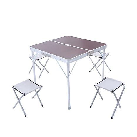 YuFLangel Mesa plegable de aluminio para exteriores, mesa ...