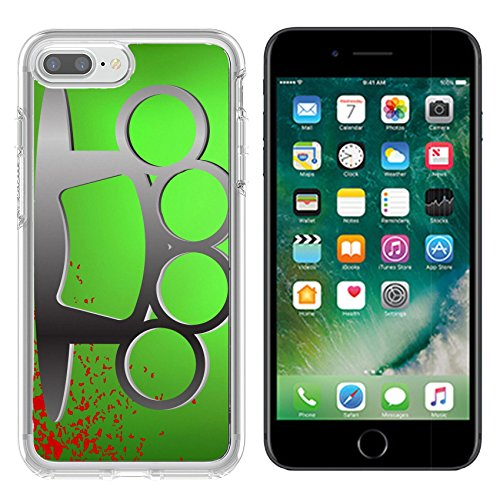Luxlady Apple iPhone 7/8 Clear case Soft TPU Rubber Silicone Bumper Snap Cases iPhone7/8 IMAGE ID: 40554665 Metal Brass Knuckle and Drops of Blood on Green Background (Brass Knuckles Iphone Case)