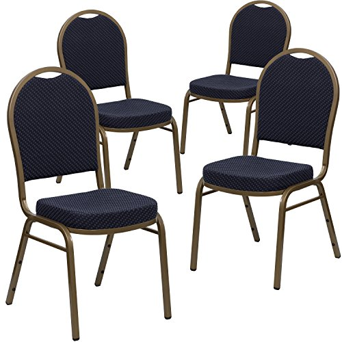 . HERCULES Series Dome Back Stacking Banquet Chair in Navy Patterned Fabric - Gold Frame (Navy Stacking Chair)