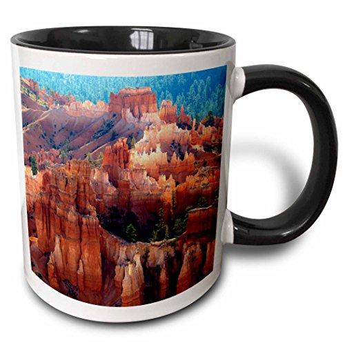 Bryce Canyon Amphitheater (3dRose Hoodoos, Sunset Point, Bryce Amphitheater, Bryce Canyon NP, Utah, USA. - Two Tone Black Mug, 11oz (mug_206078_4), 11 oz, Black/White)
