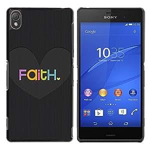 iKiki Tech / Estuche rígido - Love Heart Grey God Christian - Sony Xperia Z3 D6603 / D6633 / D6643 / D6653 / D6616