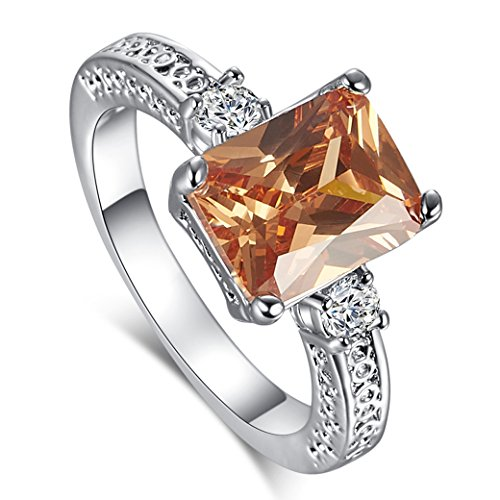 Narica Womens Fashion Simple 8mmx10mm Emerald Cut Morganite CZ Engagement Ring Band