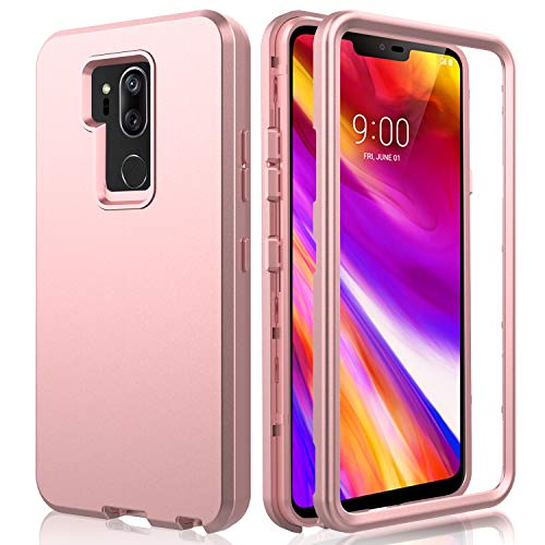 AMENQ LG G7 ThinQ Case, LG G7 Plus Case, 3 in 1 Heavy Duty Full Body Shockproof with Silicone Rubber Gel TPU Bumper and Scratch Resistant PC Armor Protective Cover for New LG 2018(Rose Gold) (Lg G2 Rubber Phone Case Verizon)