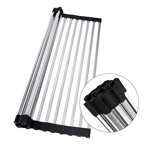 (JOMOLA Roll-up Over Sink Dish Drying Rack Heat Resistant Kitchen Foldable Dish Drainer Stainless Steel Square Tube Roll up in-sink Mat With Black Non-slip Silicone Grips)
