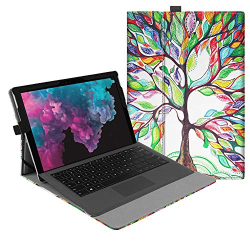 Fintie Case for Microsoft Surface Pro 6 / Pro 5 / Pro 4 / Pro 3 / Pro LTE - Multiple Angle Viewing Portfolio Business Cover, Compatible with Type Cover Keyboard (Love Tree