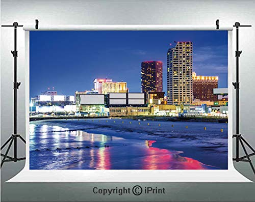 City Photography Backdrops Resort Casinos on Shore at Night Atlantic City New Jersey United States,Birthday Party Background Customized Microfiber Photo Studio Props,7x5ft,Violet Blue Pink Yellow ()