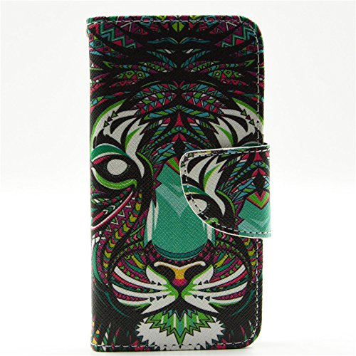 5S Case, iphone 5 5S Wallet CASE - Head Case Designs Tiger Aztec Animal Faces Pattern Premium PU Leather Wallet Case Stand Cover with Card Slots Cash Compartment for Apple iphone 5 5S + CoolGiftCase Stylus