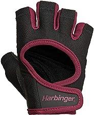 Luvas femininas Harbinger Power Weightlifting com malha elástica e palma de couro (1 par)