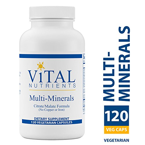 Mineral Supplement 120 Capsules - Vital Nutrients - Multi-Minerals - Citrate/Malate Formula (No Copper or Iron) - High Potency Gentle Formula With High Nutritional Value - 120 Vegetarian Capsules per Bottle