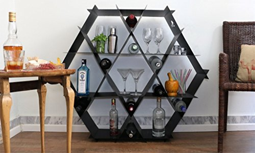 Geometric home bar, wine rack, bookcase, shelving unit, hexagonal shelf, honeycomb shelves, DIY furniture, cubby shelves, Large Metal unit - black