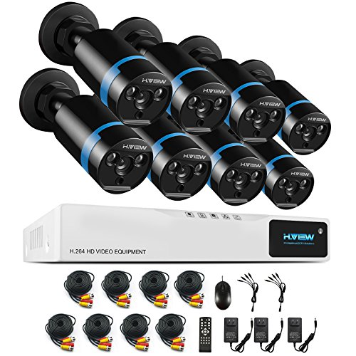 H.View 1080P Home Security Camera System,8Pcs 2mp Outdoor Bullet Camera, 8 Channel CCTV DVR kit Recorder, HD Home Video Surveillance System Support Android,iPhone Remote Viewing,Weatherproof(NO HDD)