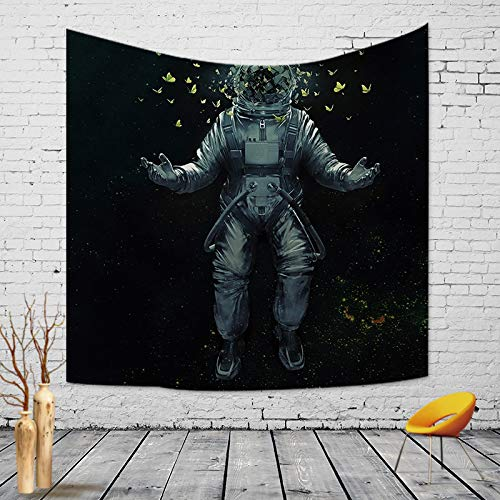 QCWN Fantasy Galaxy Planet Tapestry, Cool Spaceman Astronaut Galaxy Butterfly Decor Art Print Wall Hanging Tapestry for Men Home Decor.Blue 78x59Inc (78″ L59 W)