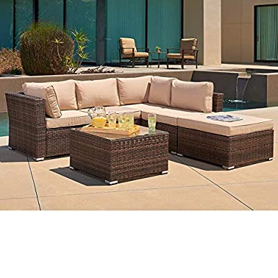 SUNCROWN Outdoor Furniture Sectional Sofa (4-Piece Set) All-Weather Checkered Wicker w/Washable Seat Cushions & Glass Coffee Table from SUNCROWN