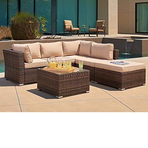 (SUNCROWN Outdoor Furniture Sectional Sofa (4 Piece Set) All Weather Brown Checkered Wicker with Beige Washable Seat Cushions and Glass Coffee Table   Patio, Backyard, Pool   Waterproof Cover and Clips)