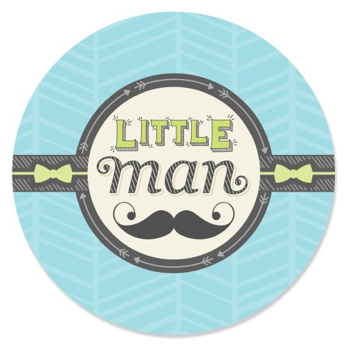 Dashing Little Man Mustache Party - Baby Shower or Birthday Party Circle Sticker Labels - 24 Count -