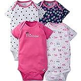 Gerber Baby Girls' 4-Pack Short-Sleeve Onesies