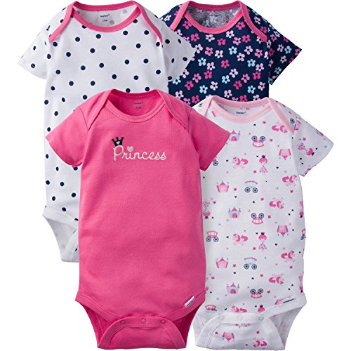 - Gerber Baby Girls' 4-Pack Short-Sleeve Onesies Bodysuit, Pink Princess, 18 Months
