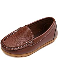 Toddler Boys Girls Soft Synthetic Leather Loafers Slip On Boat Dress Shoes Flat (Toddler/Little Kid/Big Kid)
