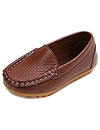 Toddler Boys Girls Leather Loafers Slip On Boat Dress Shoes Flat