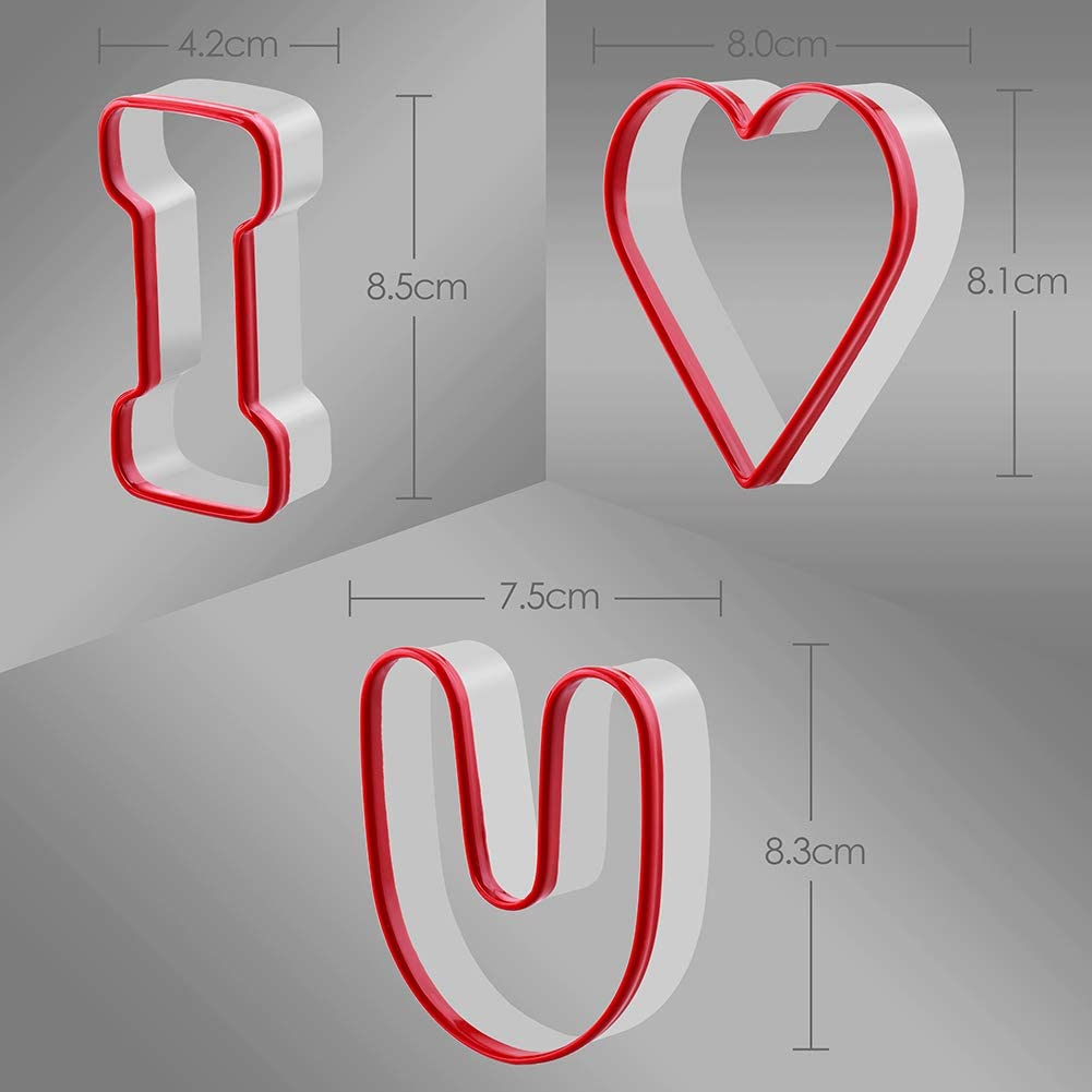FASAKA Alphabet Cookie Cutters Set I Love U for Valentine/'s Day and Decorating Marry Cake