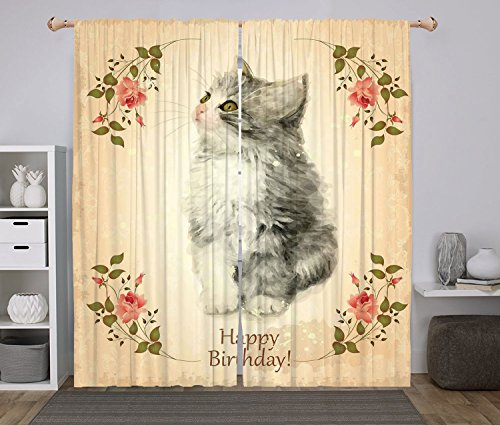84l Panel (Polyester Window Drapes Kitchen Curtains,Birthday Decorations,Adorable Fluffy Cat Rose Branches Greeting Card Inspired Design,Tan Grey Coral,Living Room Bedroom Kitchen Cafe Window Drapes 2 Panel Set)