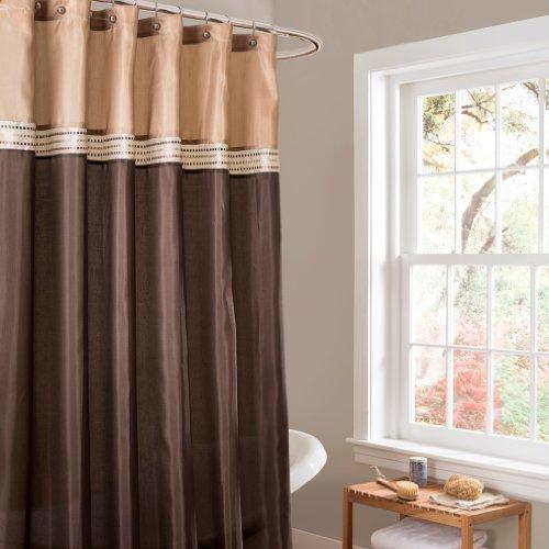 Lush Decor Terra Shower Curtain, 72 by 72-Inch, Brown/Beige