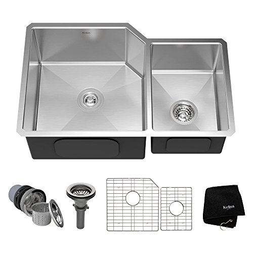 KRAUS Standart PRO 32-inch 16 Gauge Undermount 60/40 Double Bowl Stainless Steel Kitchen Sink, KHU123-32 (Bowl Double Kitchen)