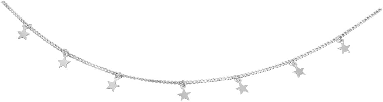 ROSTIVO Star Necklace for Women Trendy Star Necklace Choker for Girls (Silver)