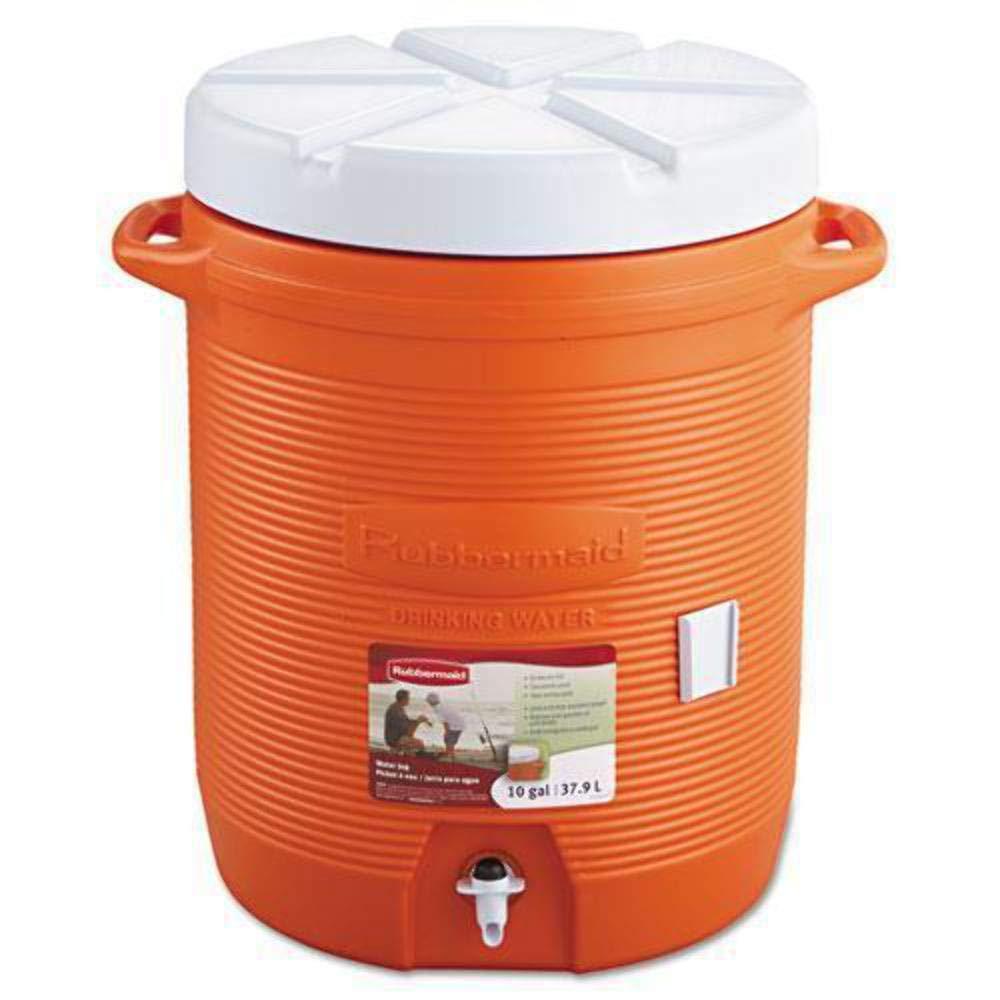 "Rubbermaid RHP 1610 10 gallon Capacity, 12.5"" Diameter x 15.85"" Width x 20.5"" Height x 19.19"" Depth, Orange Color, Water Cooler"