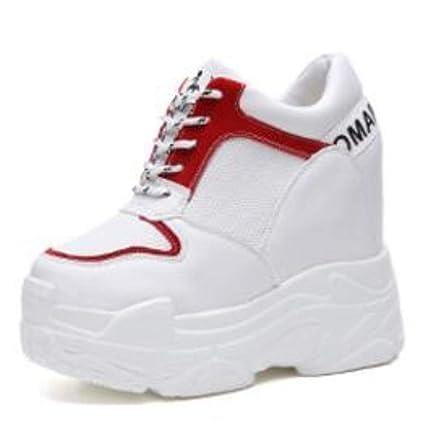 DOSOMI - Zapatillas de Mujer de Malla de otoño con Plataforma Alta Que Aumenta la Altura