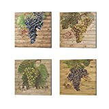 Grape Crate by Nobleworks Inc, 4 Piece Canvas Art Set, 10 X 10 Inches Each, Kitchen Art