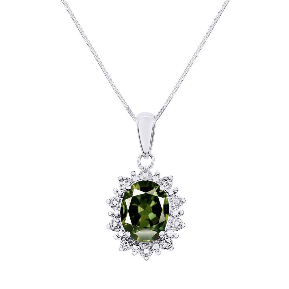 "Princess Diana Inspiredハローダイヤモンド&グリーンサファイアペンダントネックレス14 Kホワイトゴールドにセットwith 18 ""チェーン B07BBWP9Y9"