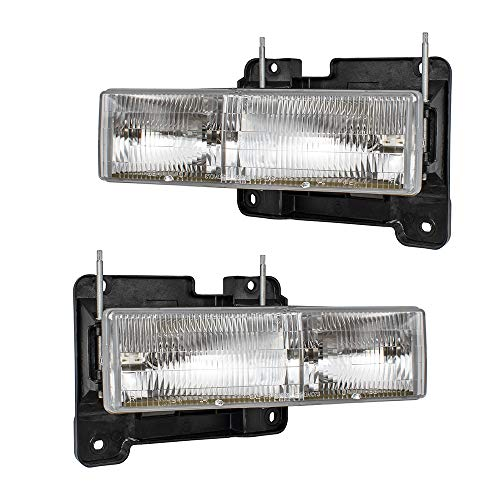 (Pair Set Composite Headlights Headlamps Replacement for 90-02 GM SUV Pickup Truck 15034929 15034930)