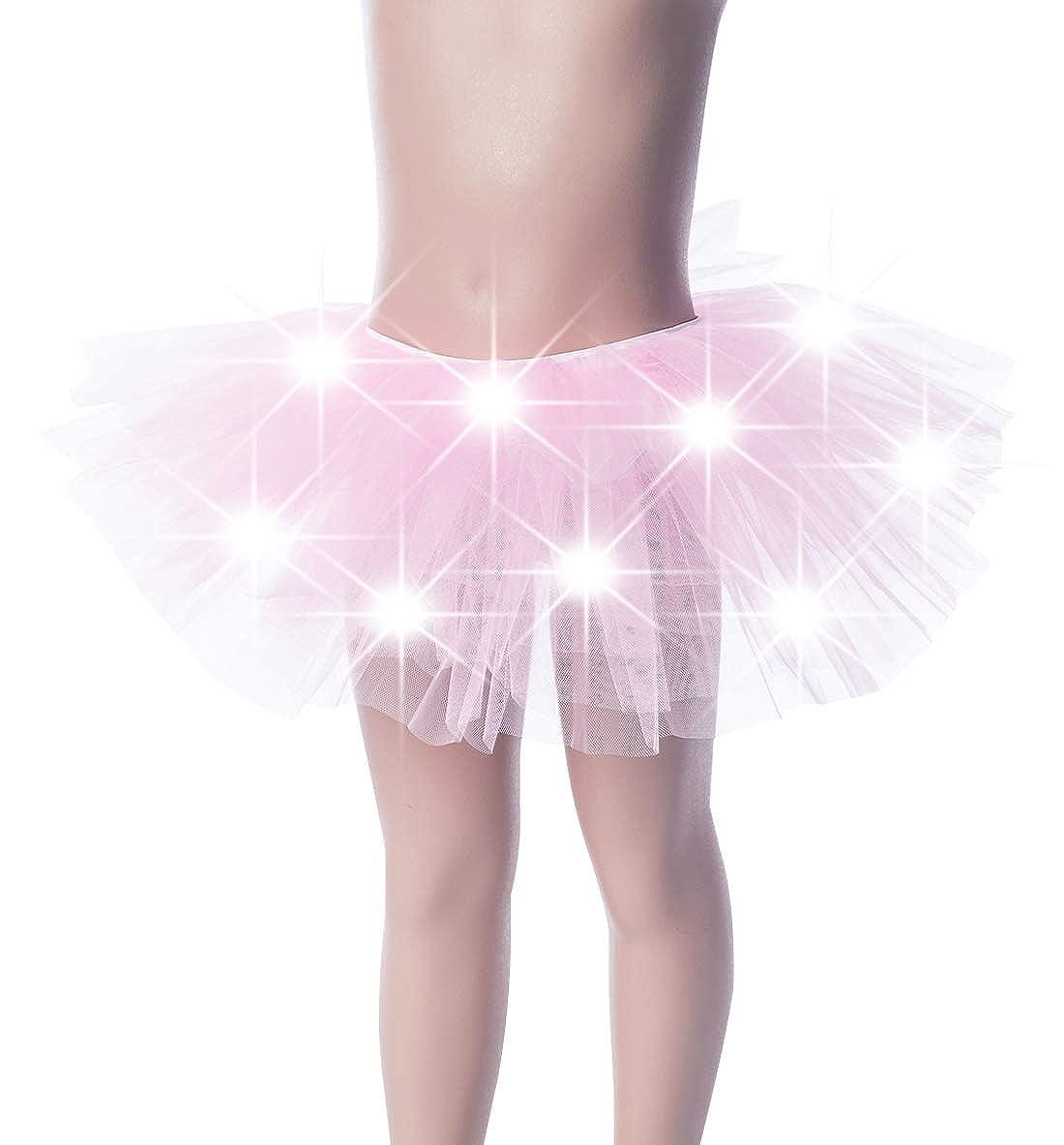 Kid Girls Light Up Tutu Skirt 5 Layers Rainbow Tulle Dress Neon Halloween Cosutmes for 3-10 Years