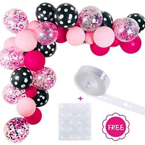 Minnie Color Balloons 40 Pack, 12 Inch Light Pink Rose Red Black Bot Latex Balloons with Confetti Balloon Balloons Strip for Balloon Garland Baby Shower Birthday Party Decorations Supplies with Ribbon ()