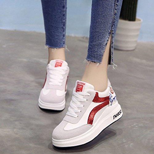 Giy Kvinna Höga Bästa Mode Sneakers Snörning Kilar Plattform Rund Tå Dold Häl Blommor Gymnastiksko Skor Vita