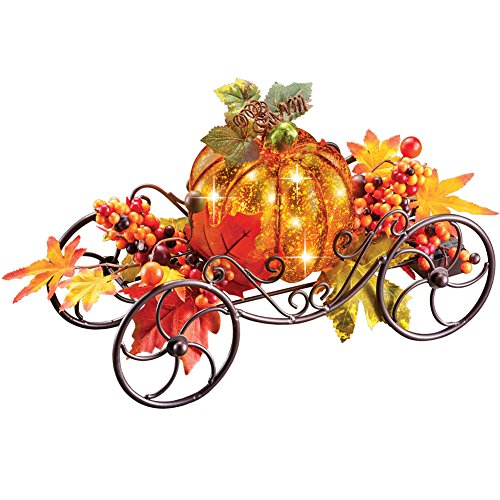 Solar Pumpkin Light Up Coach Wagon, Fall Outdoor Décor, Metal